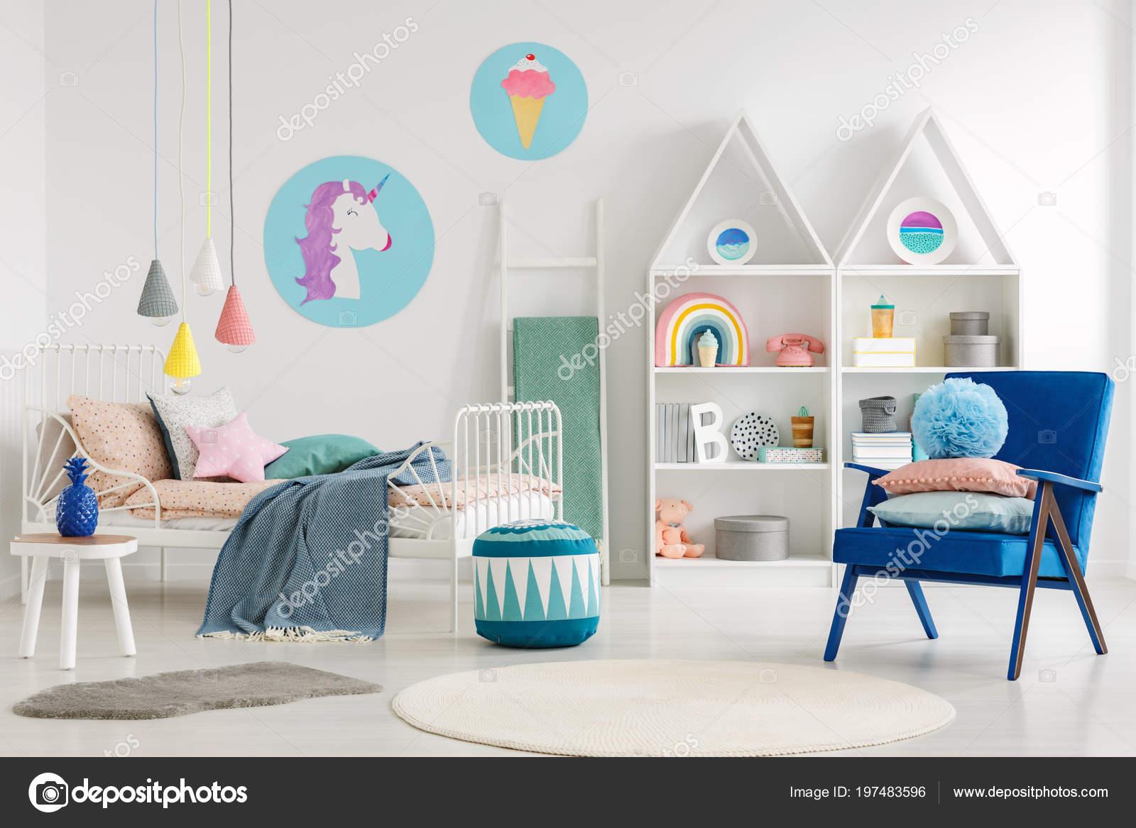 Bleu Fauteuil Pouf Intérieur Chambre Enfant Coloré Avec Affiche ...