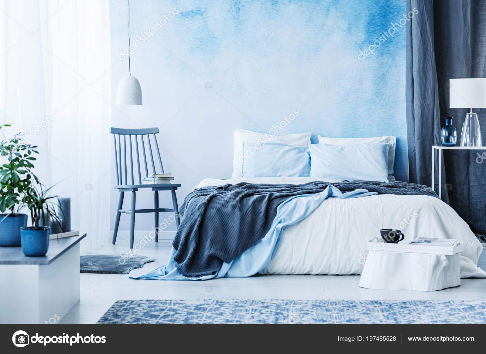 Blue Chair Next Bed Grey Blanket Cozy Bedroom Interior ...