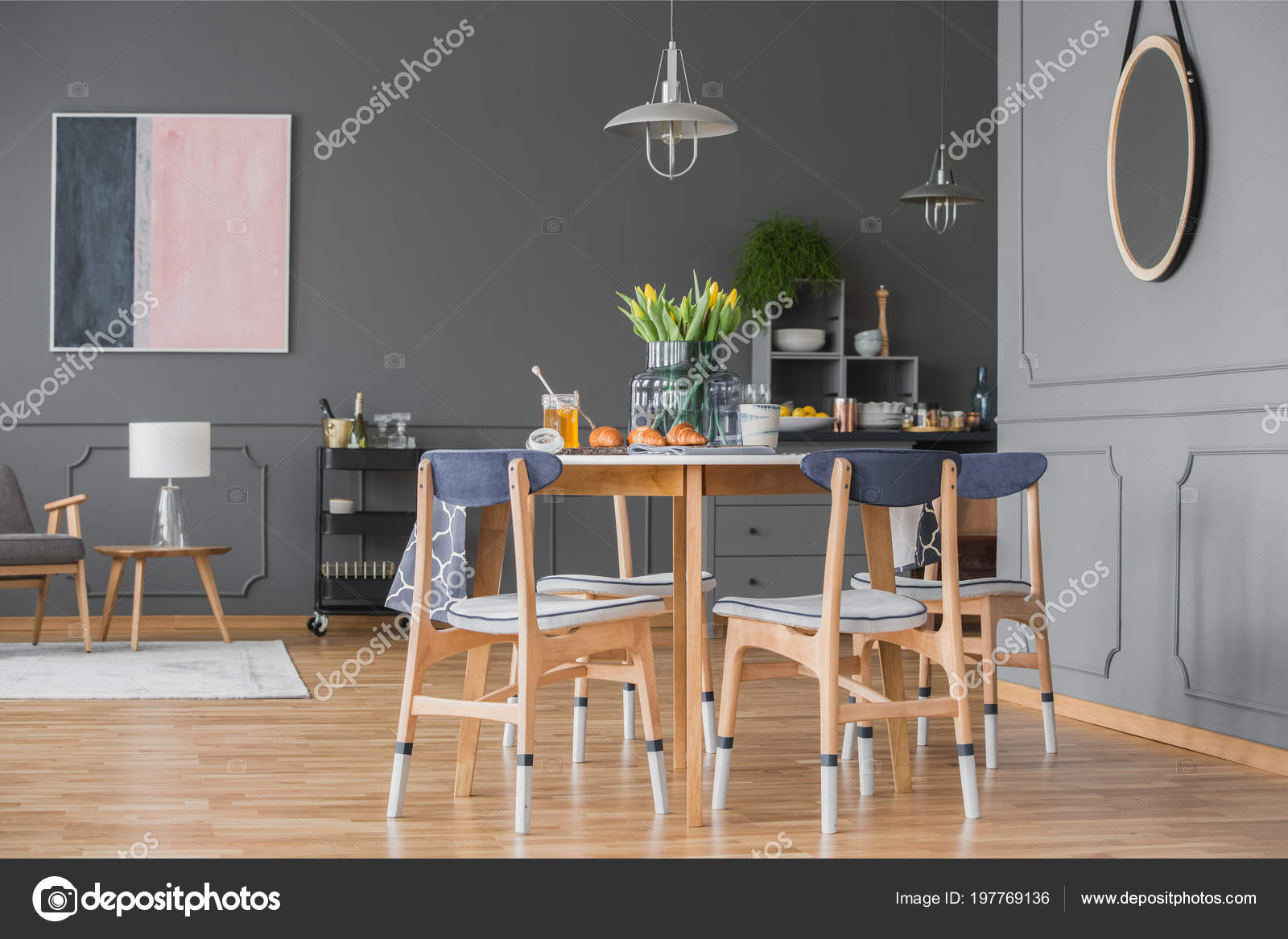 Mirror Grey Wall Molding Open Space Interior Dining Table Pastel Stock Photo Image By Photographee Eu 197769136