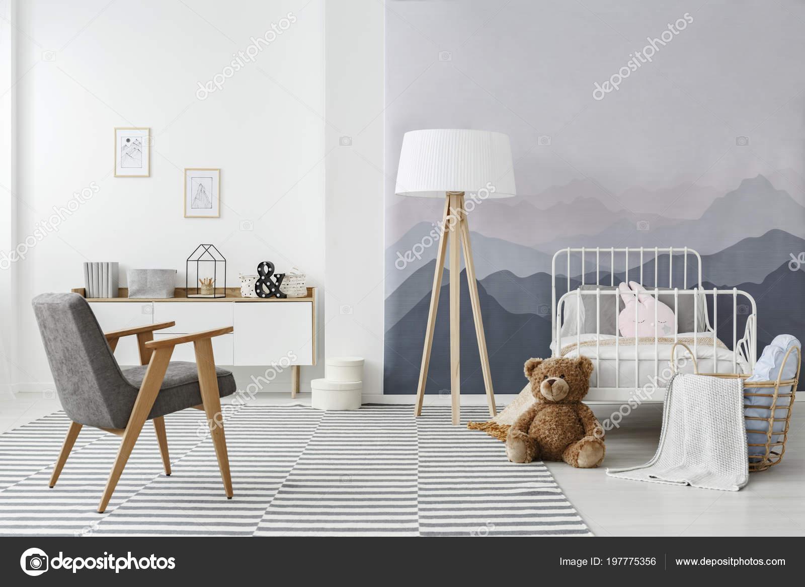 Drewniana Lampa Podłogowa Nowoczesny Fotel Szary