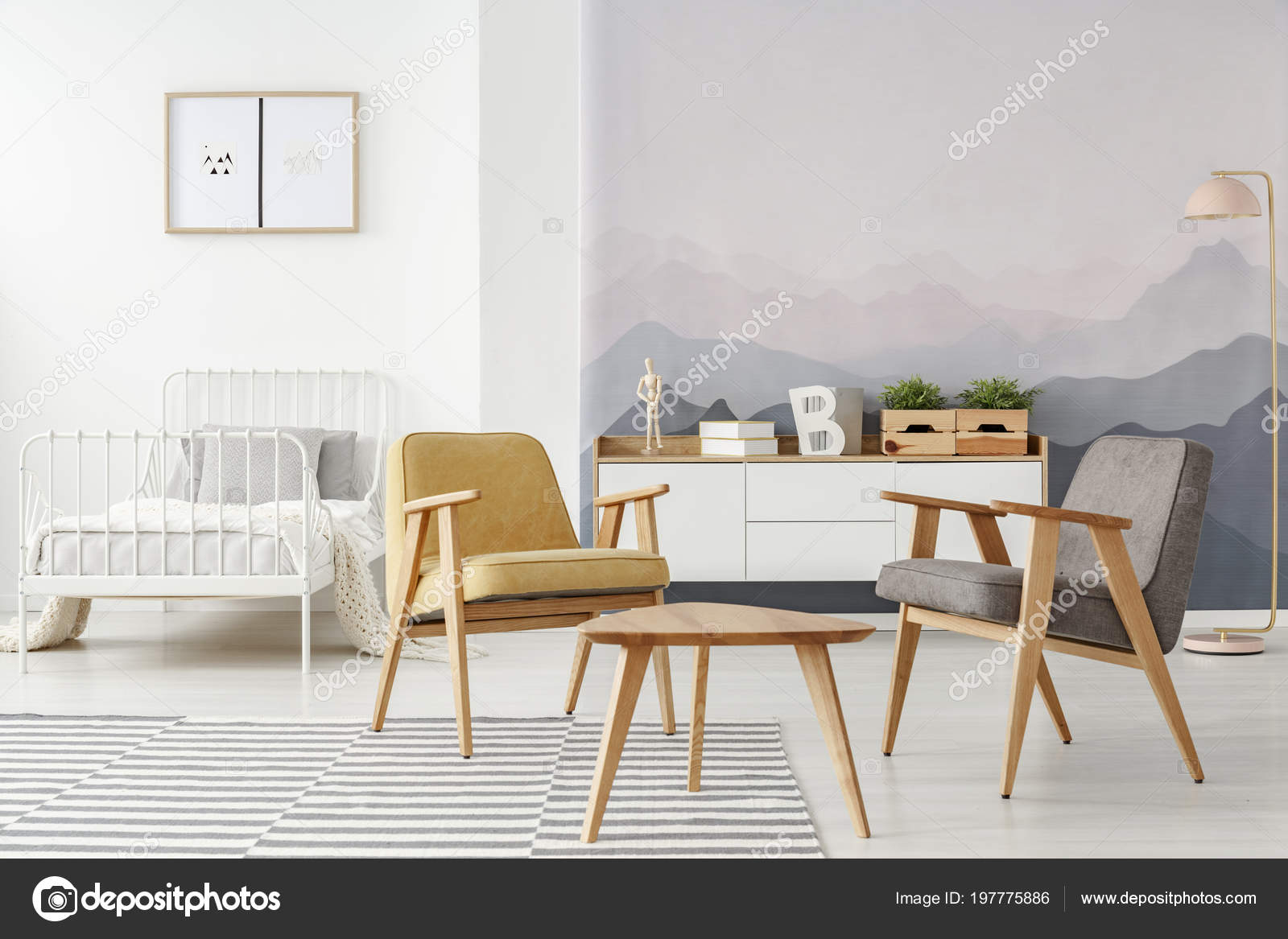 Yellow grey and white bedroom | Yellow Gray Modern Armchairs ...