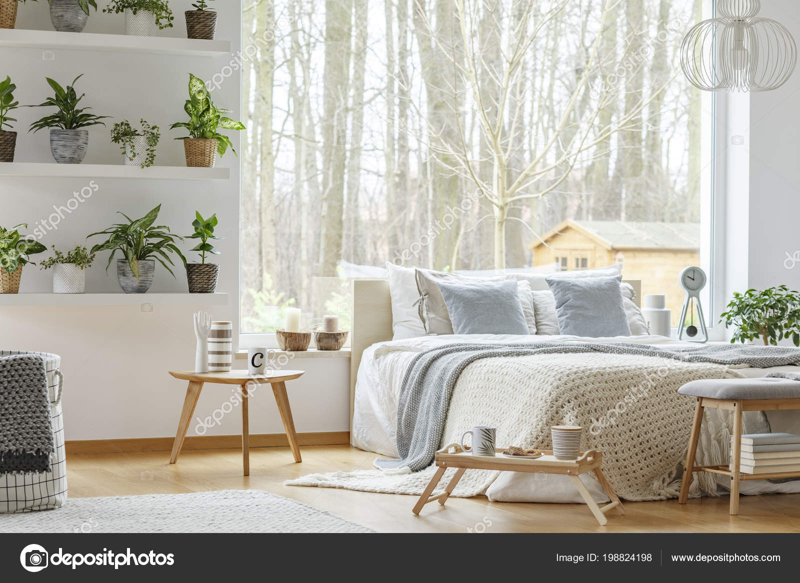 Blue Pillows Bed Next Wooden Table Natural Bedroom Interior Plants Stock Photo C Photographee Eu 198824198