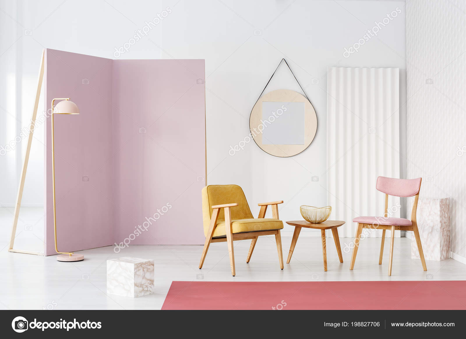 Wooden Table Yellow Armchair Chair Pastel Pink Living Room Interior ...