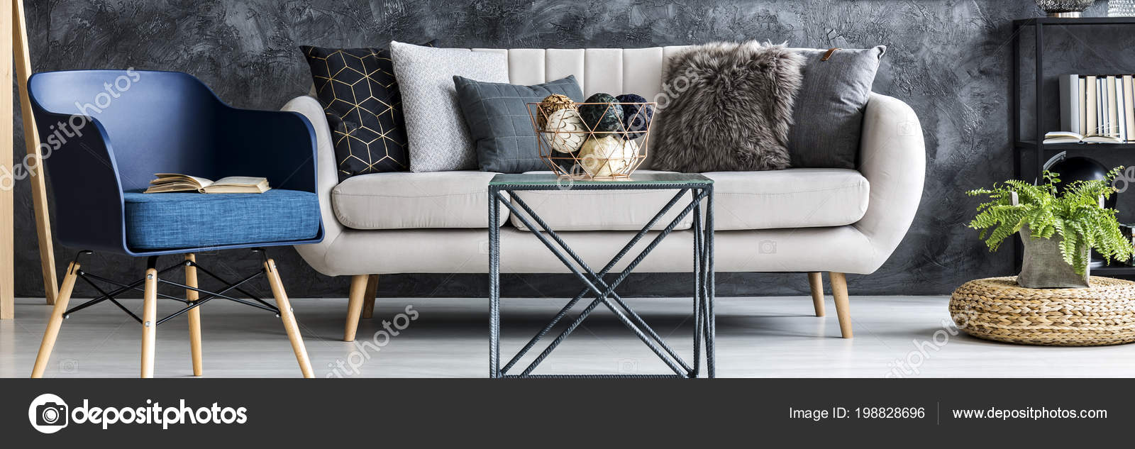 Image of: Light Grey Sofa Decorative Pillows Standing Dark Living Room Interior Stock Photo C Photographee Eu 198828696