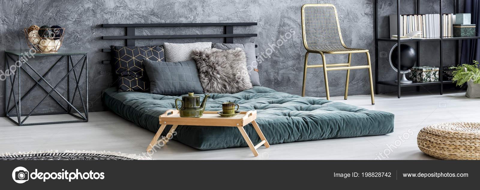Fabulous Gold Chair Placed Dark Bedroom Interior Raw Wall Green Machost Co Dining Chair Design Ideas Machostcouk