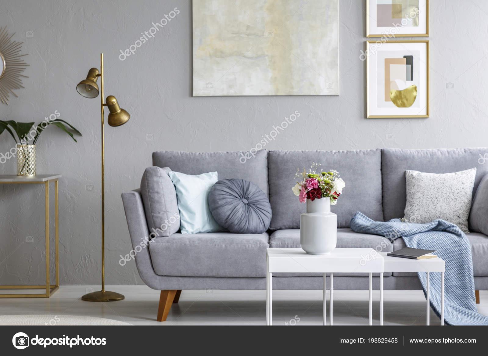 Gold Lamp Next Grey Sofa Modern Living Room Interior Poster