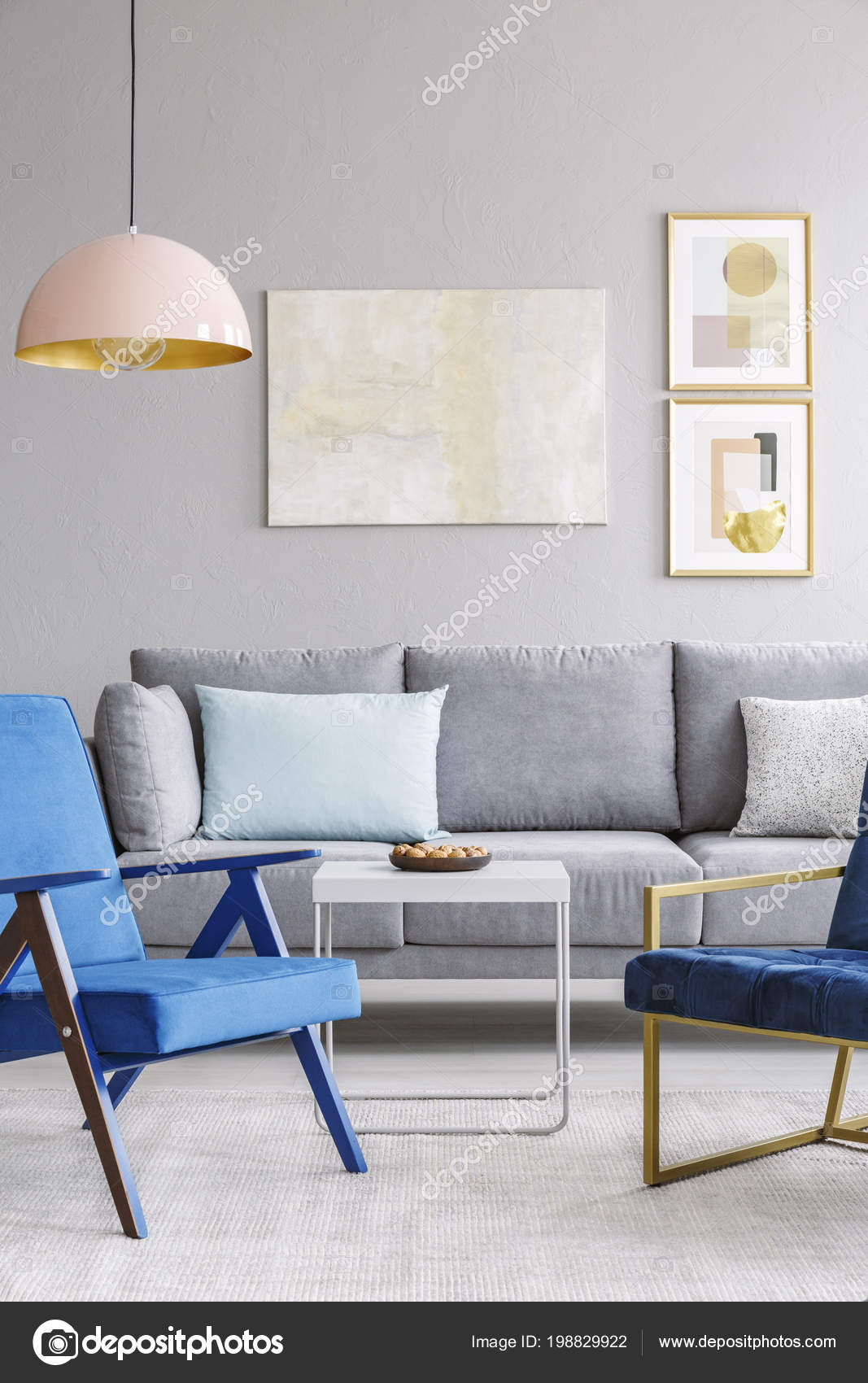 Real Photo Two Blue Chairs Standing Front Grey Couch Elegant — Stock ...