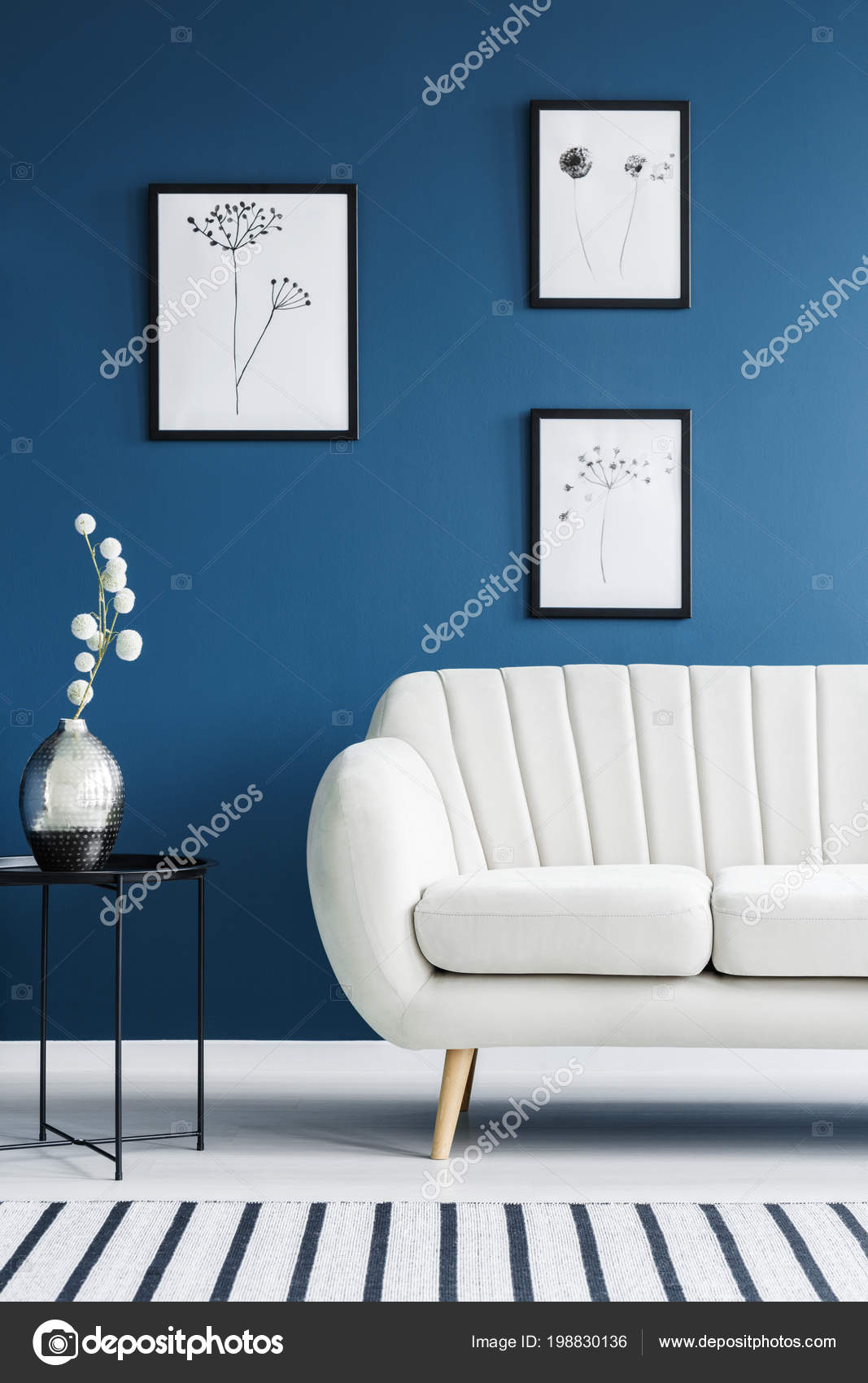 Picture of: Floral Posters Metal Side Table White Sofa Set Blue Living Stock Photo C Photographee Eu 198830136