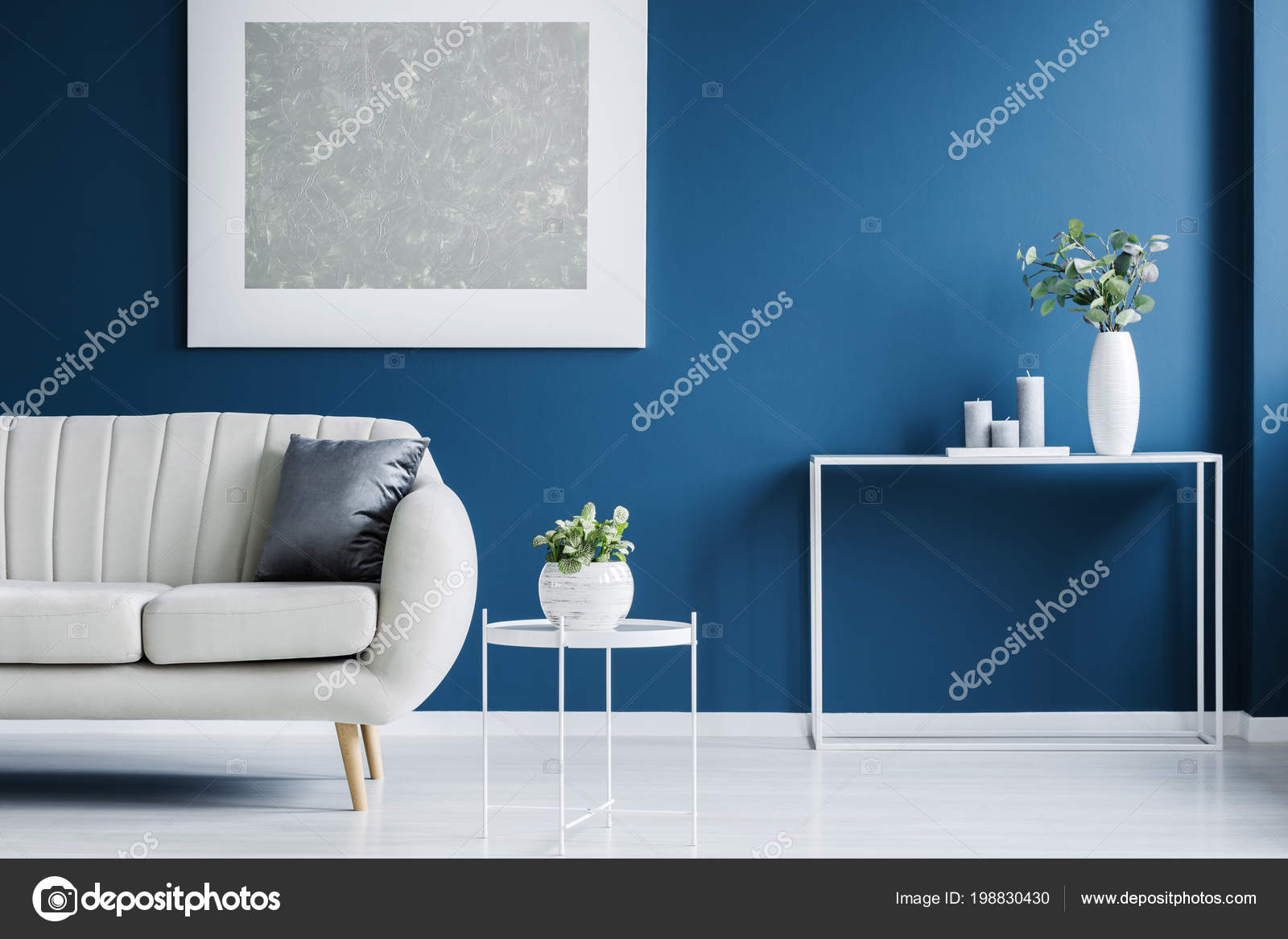 Fantastic Metal Console Table Plant Vase Candles Standing Blue Wall Dailytribune Chair Design For Home Dailytribuneorg