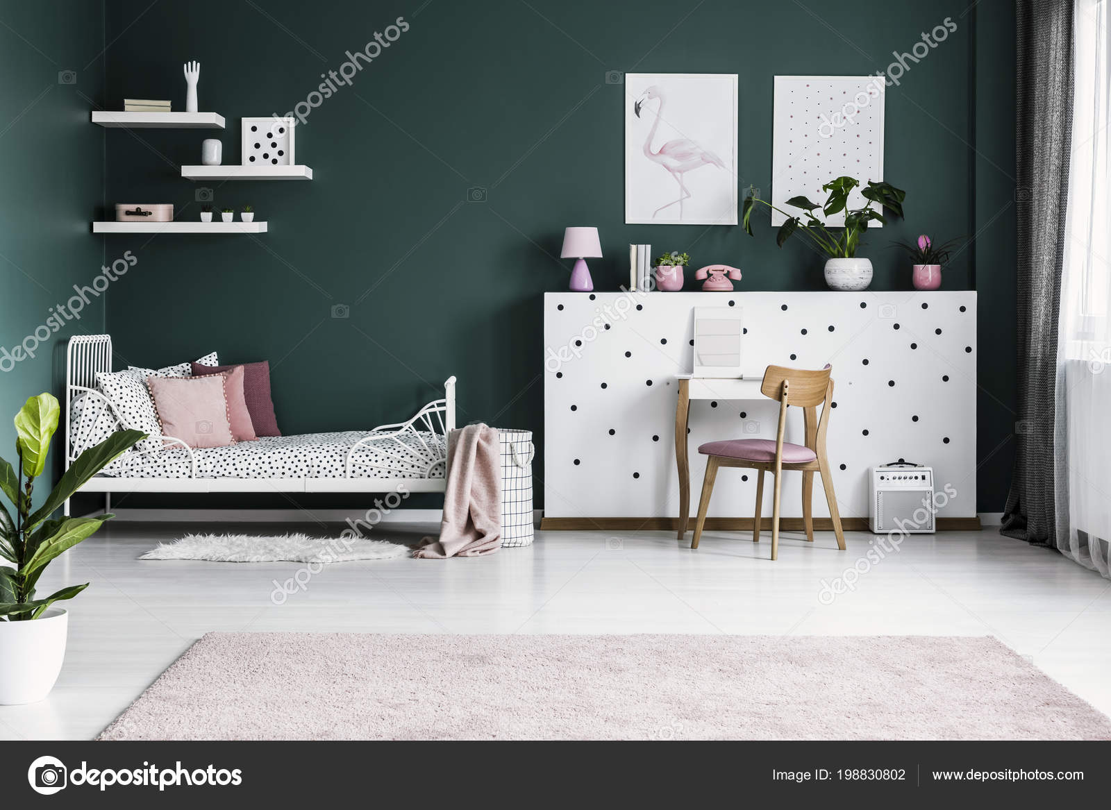 Posters Green Wall Girl Bedroom Interior White Bed Wooden ...