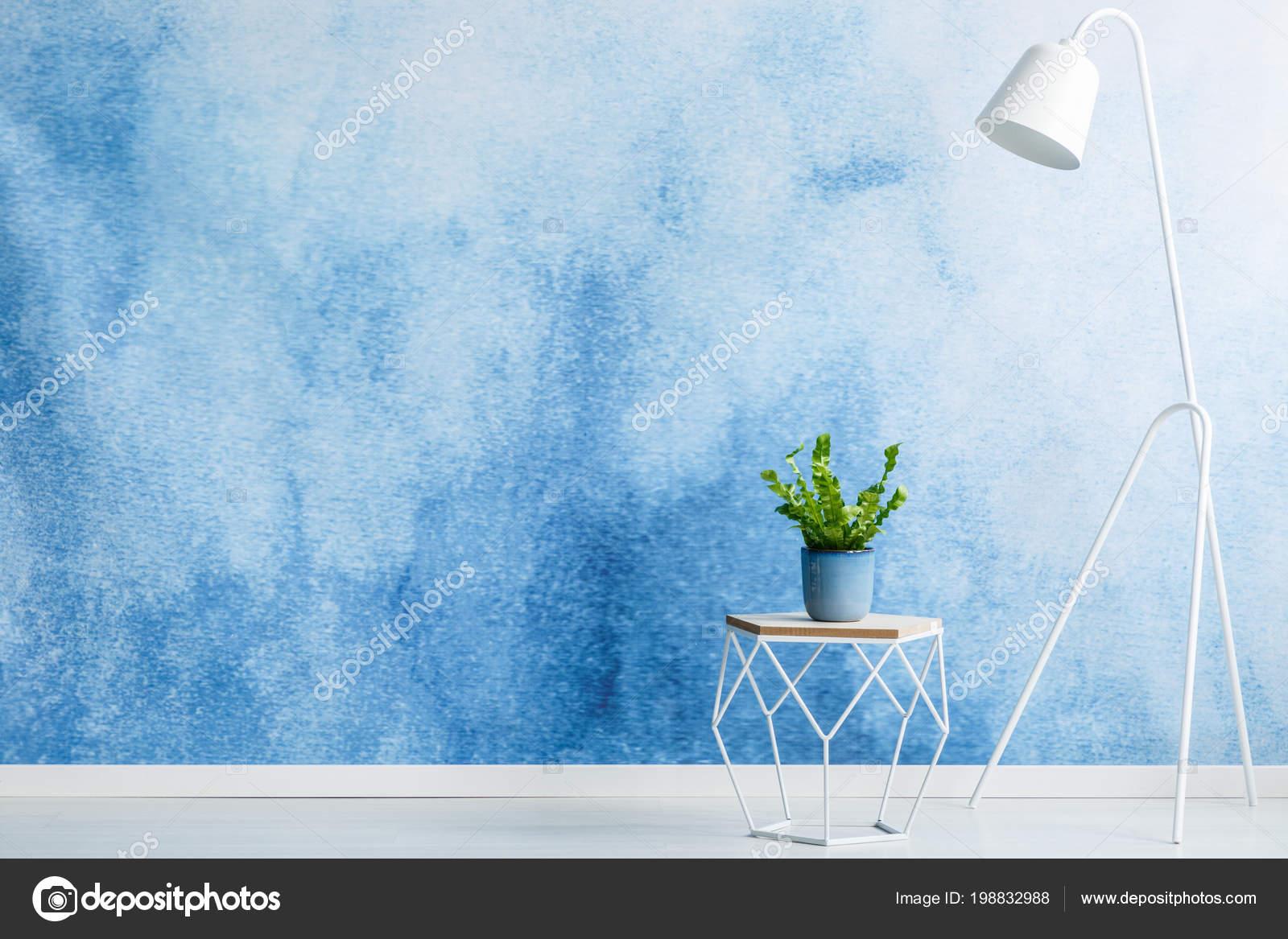 Muro posizionamento prodotto vuoto sgabello con una pianta bianco