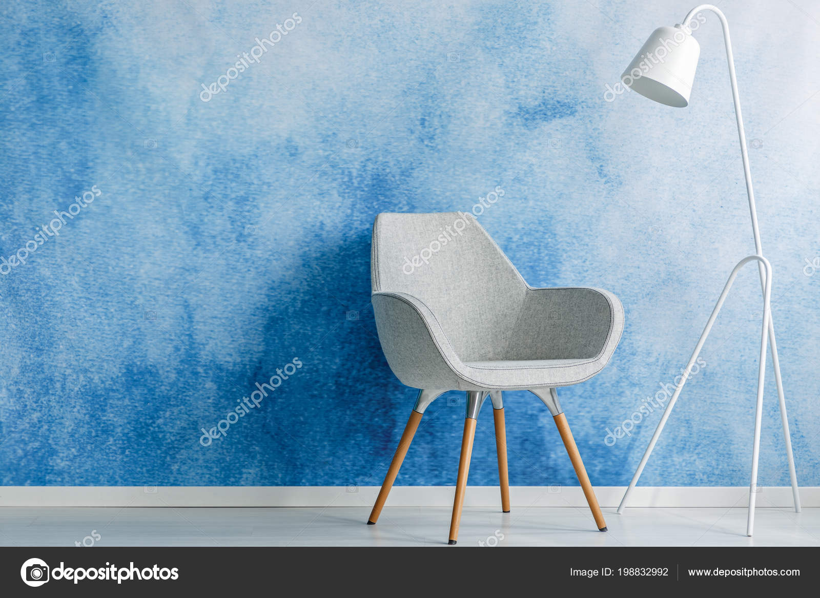 Chair White Lamp Set Empty Blue Wall Living Room Interior