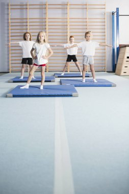 School girls and boys doing warm-up exercises in a modern gym hall interior with wall bars and gymnastics equipment