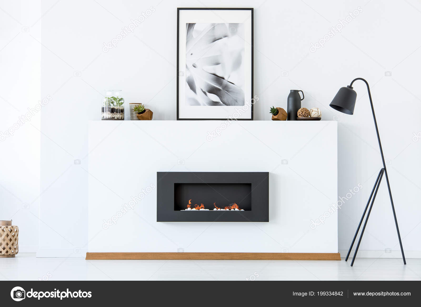 Black Lamp Next Fireplace Poster White Minimal Living Room Interior ...