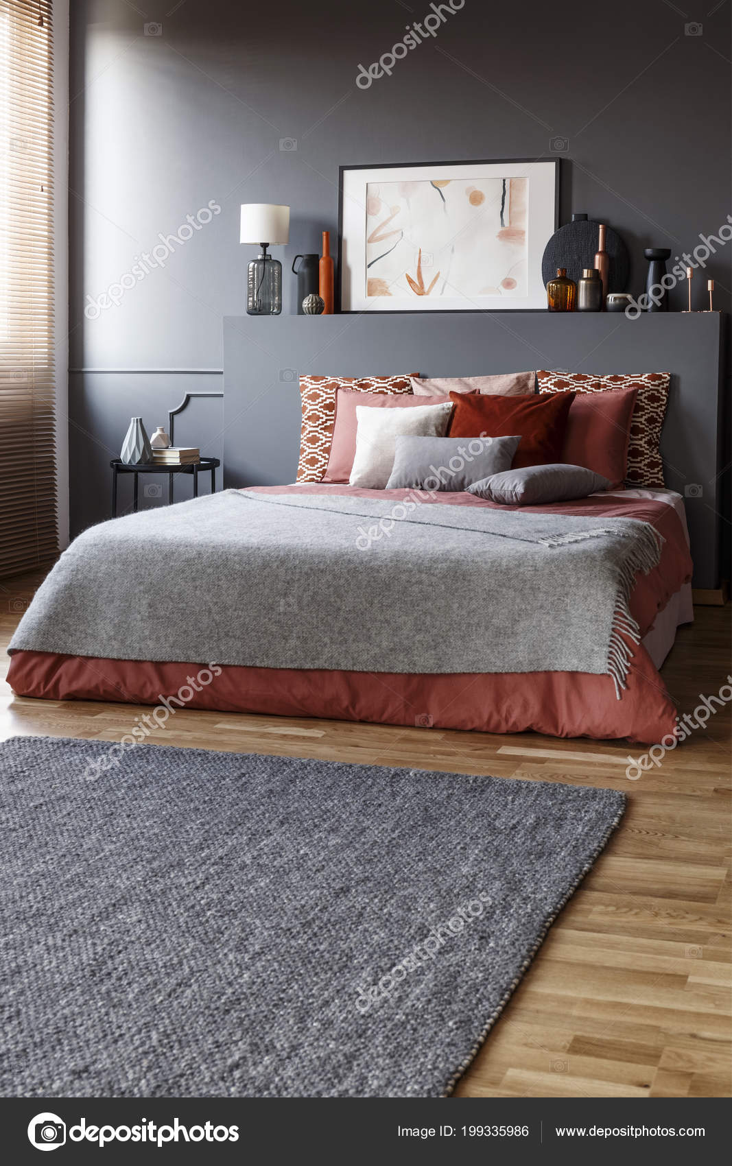 Grey Rug Front King Size Bed Pillows Painting Simple Bedroom Stock Photo C Photographee Eu 199335986