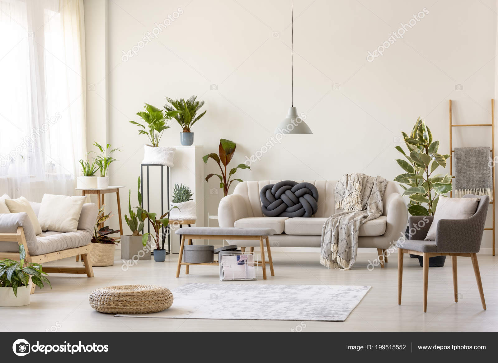 Excellent Pouf Rug Plants Spacious Living Room Interior Grey Chair Gamerscity Chair Design For Home Gamerscityorg