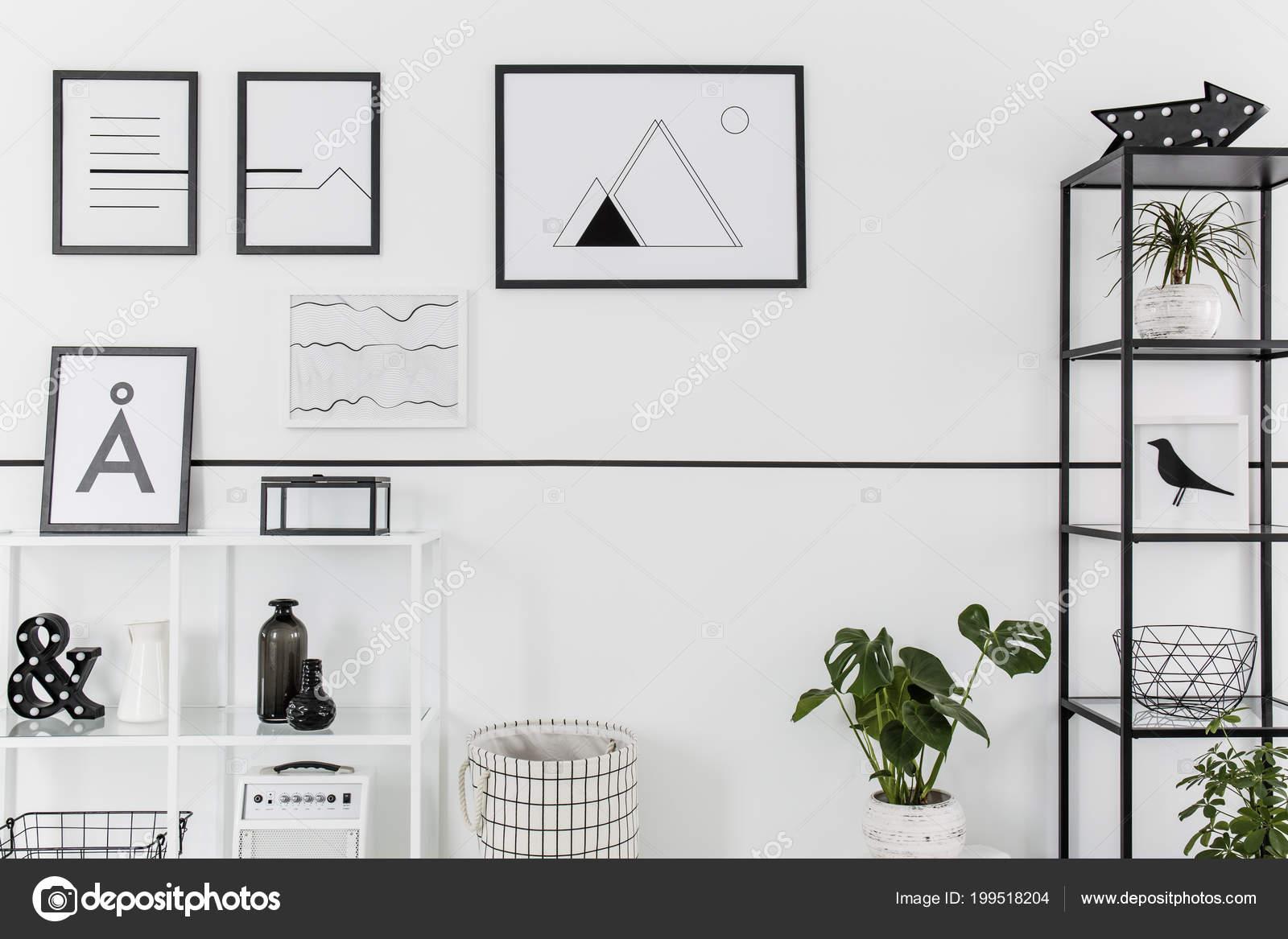 Einfache Schwarz Weiß Poster Hängen Weiße Wand Nordischen ...