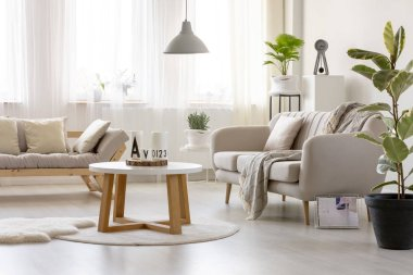 Wooden table on rug in front of settee in simple living room interior with ficus. Real photo