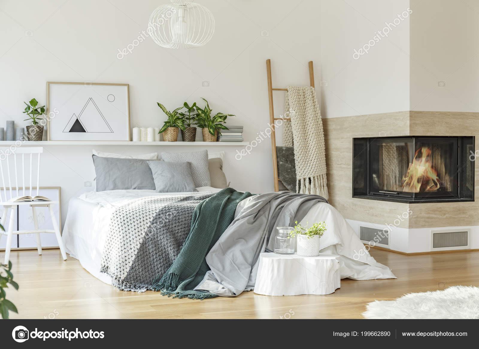 Kominek Drabiny Pobliżu łóżko Zielony Szary Prześcieradła