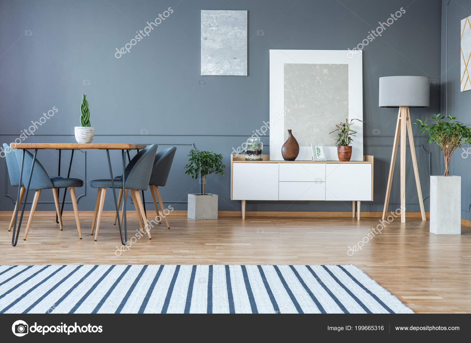 Modern Dining Room Interior Striped Rug Table Grey Chairs
