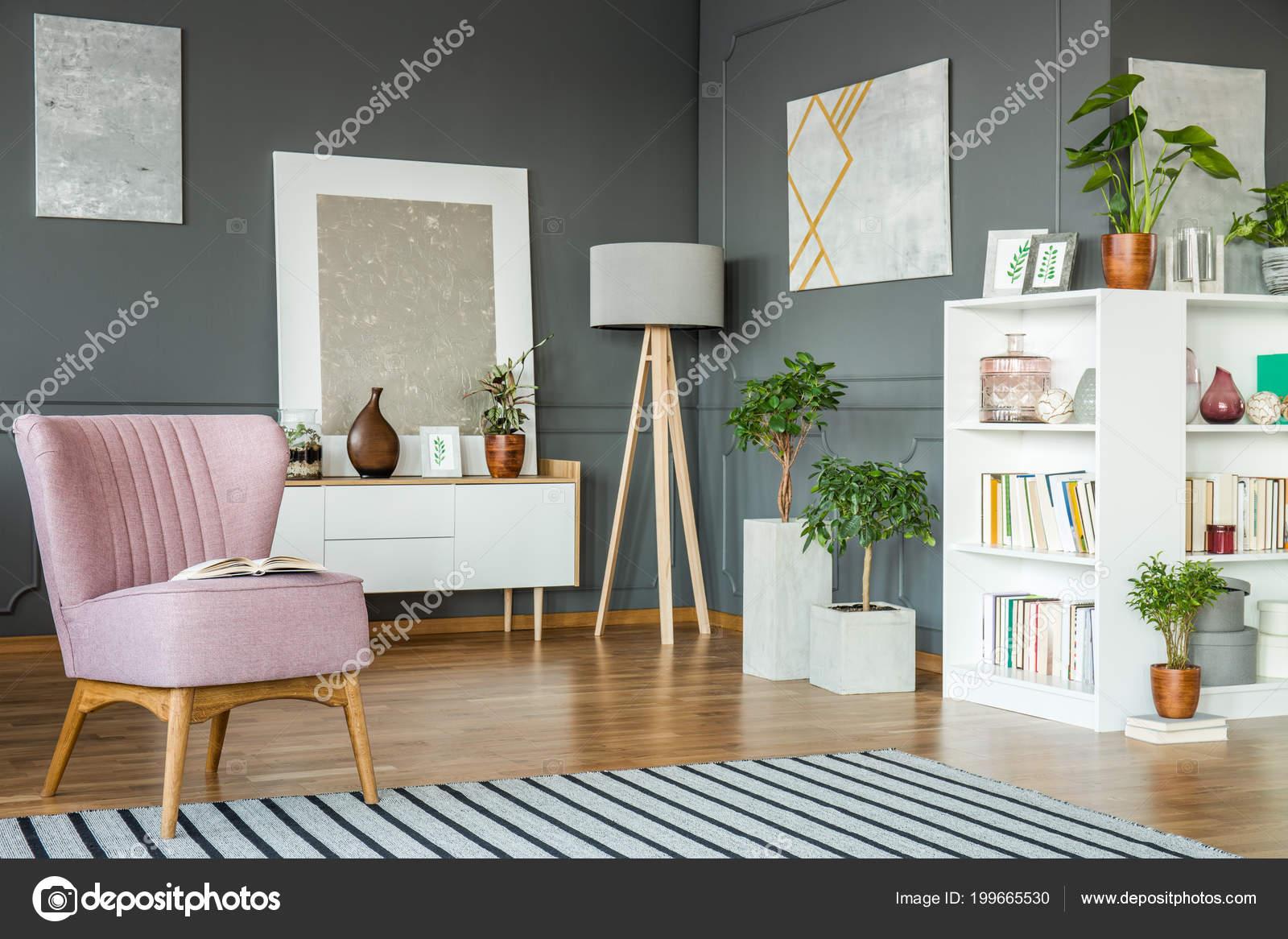 Różowy Fotel Szafka Drewniane Lampy Rośliny Półki Salonie