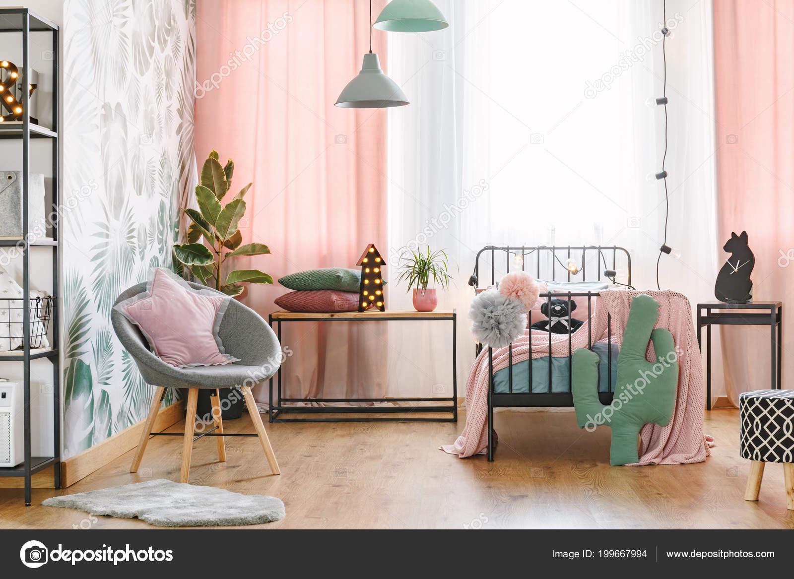Pink Pillow Grey Armchair Bed Girl Bedroom Interior Green ...