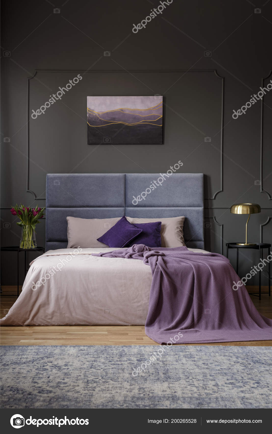 Violet Blanket Bed Headboard Spacious Bedroom Interior Painting Grey Wall Stock Photo C Photographee Eu 200265528
