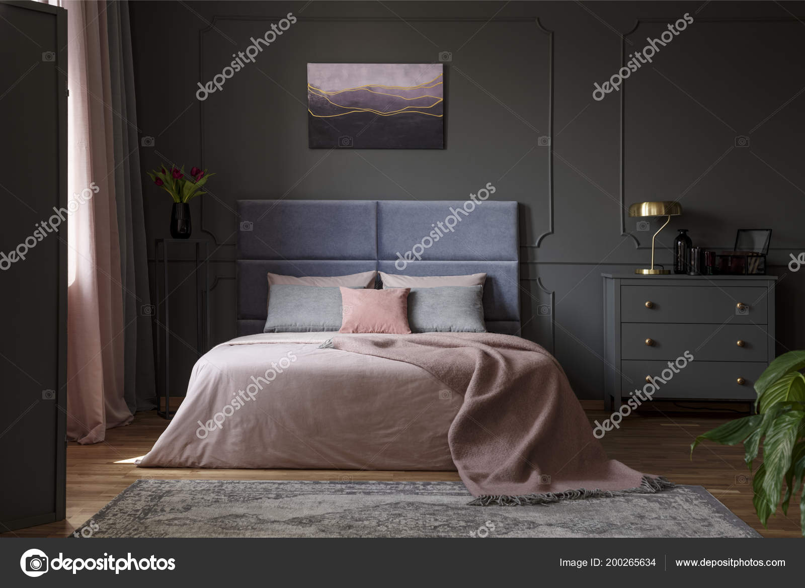 Pastel Blanket Bed Pink Blue Bedroom Interior Gold Lamp Grey Stock Photo