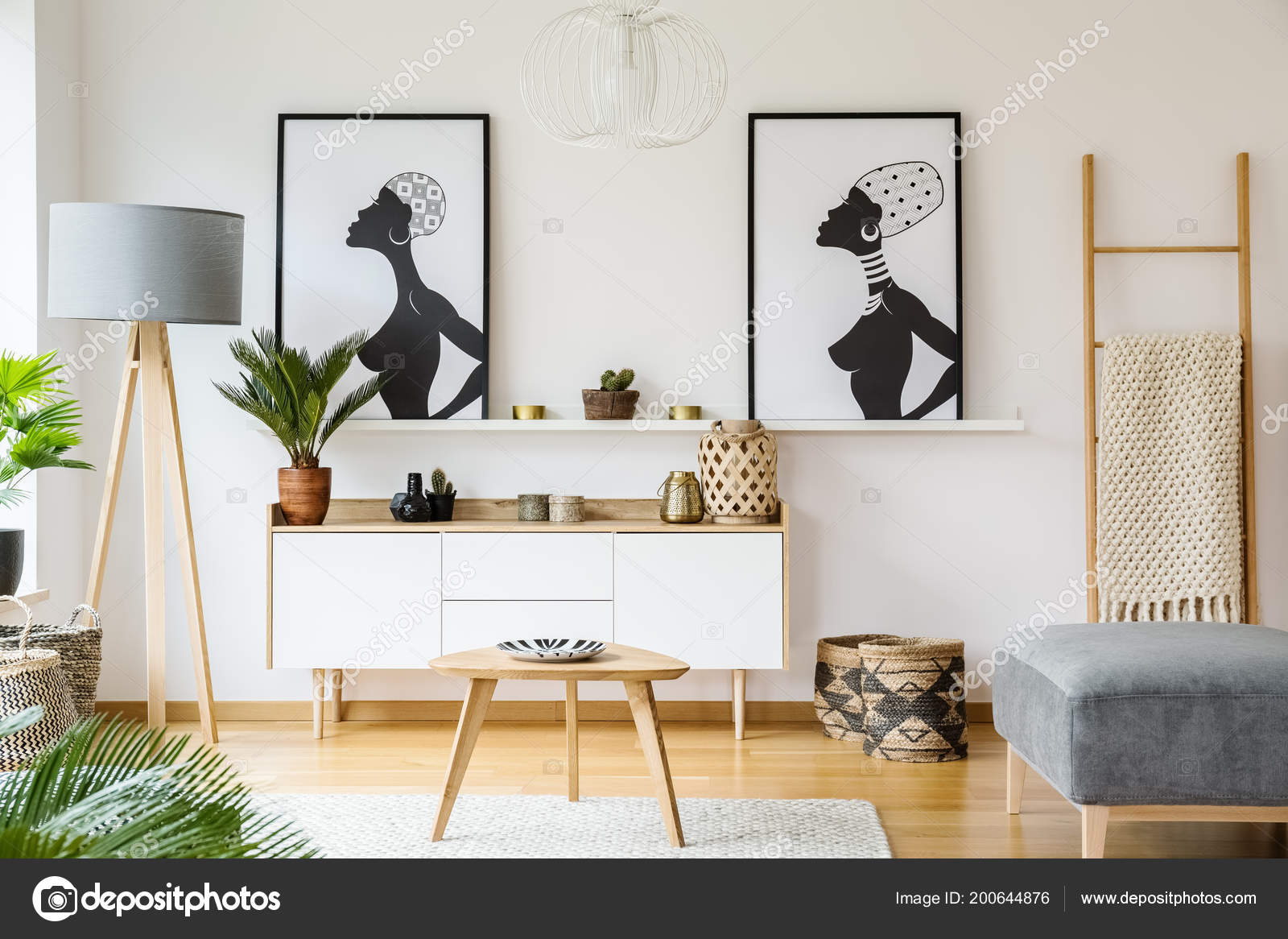 Black White African Posters Cabinet Living Room Interior ...
