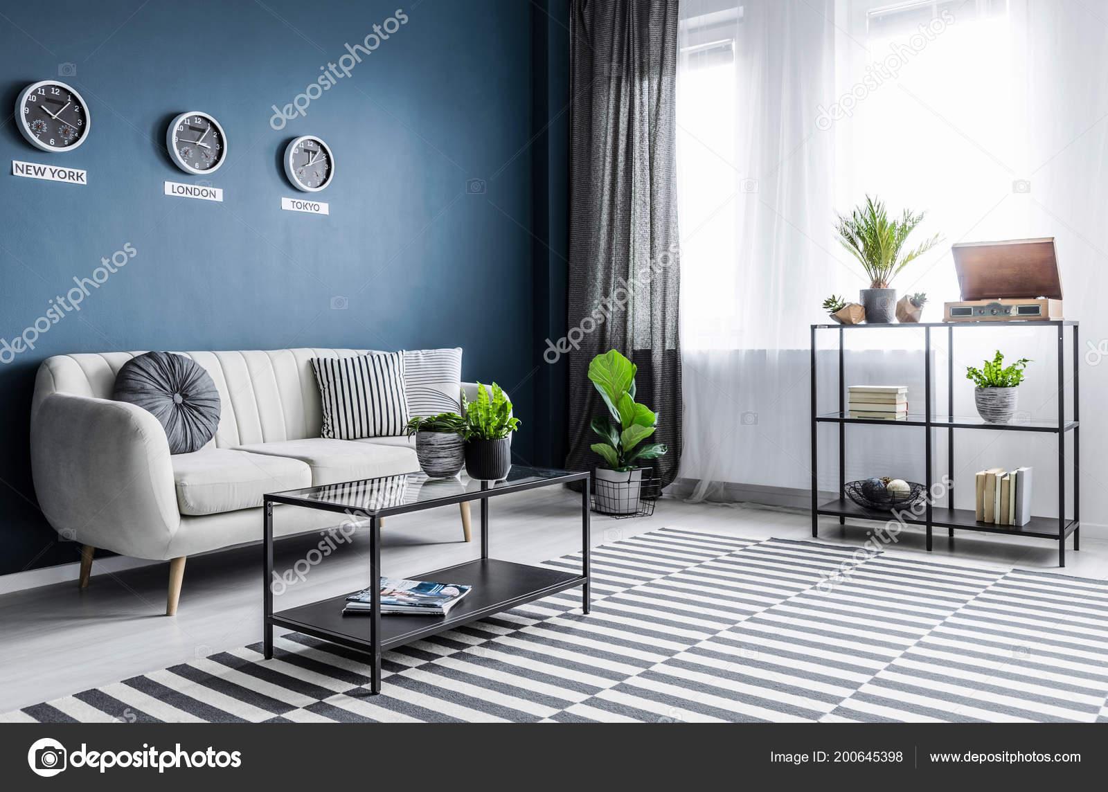 Plantes Tapis Motifs Dans Salon Bleu Lumineux Interieur Avec