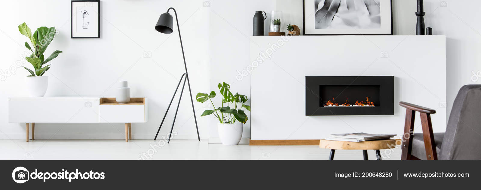 Wall Poster Decorations Fireplace Bright Living Room