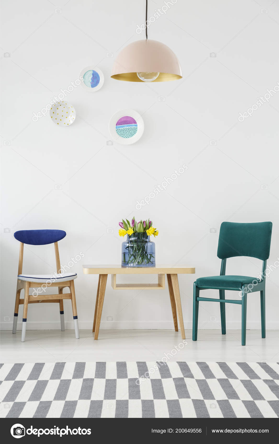 Turquoise Chair Next Wooden Table Flowers Pastel Lamp Dining Room Stock Photo