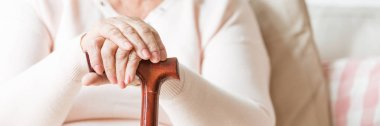 Close-up of senior woman's hands folded on a cane. Panorama.