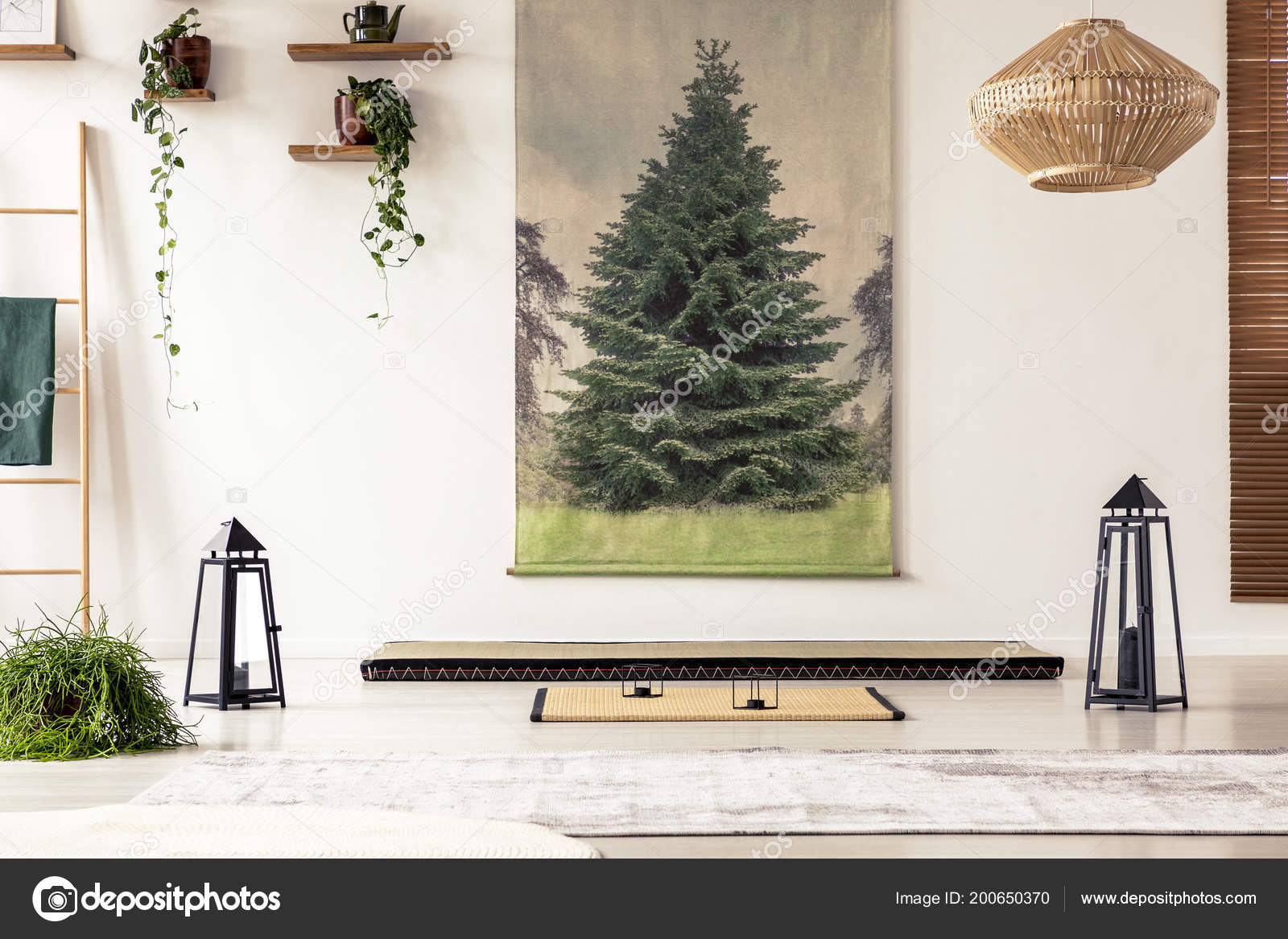 Tree poster wall lamps plants tatami mat mattress japanese room tree poster on the wall lamps plants tatami mat and mattress in a japanese room interior photographee mozeypictures Gallery