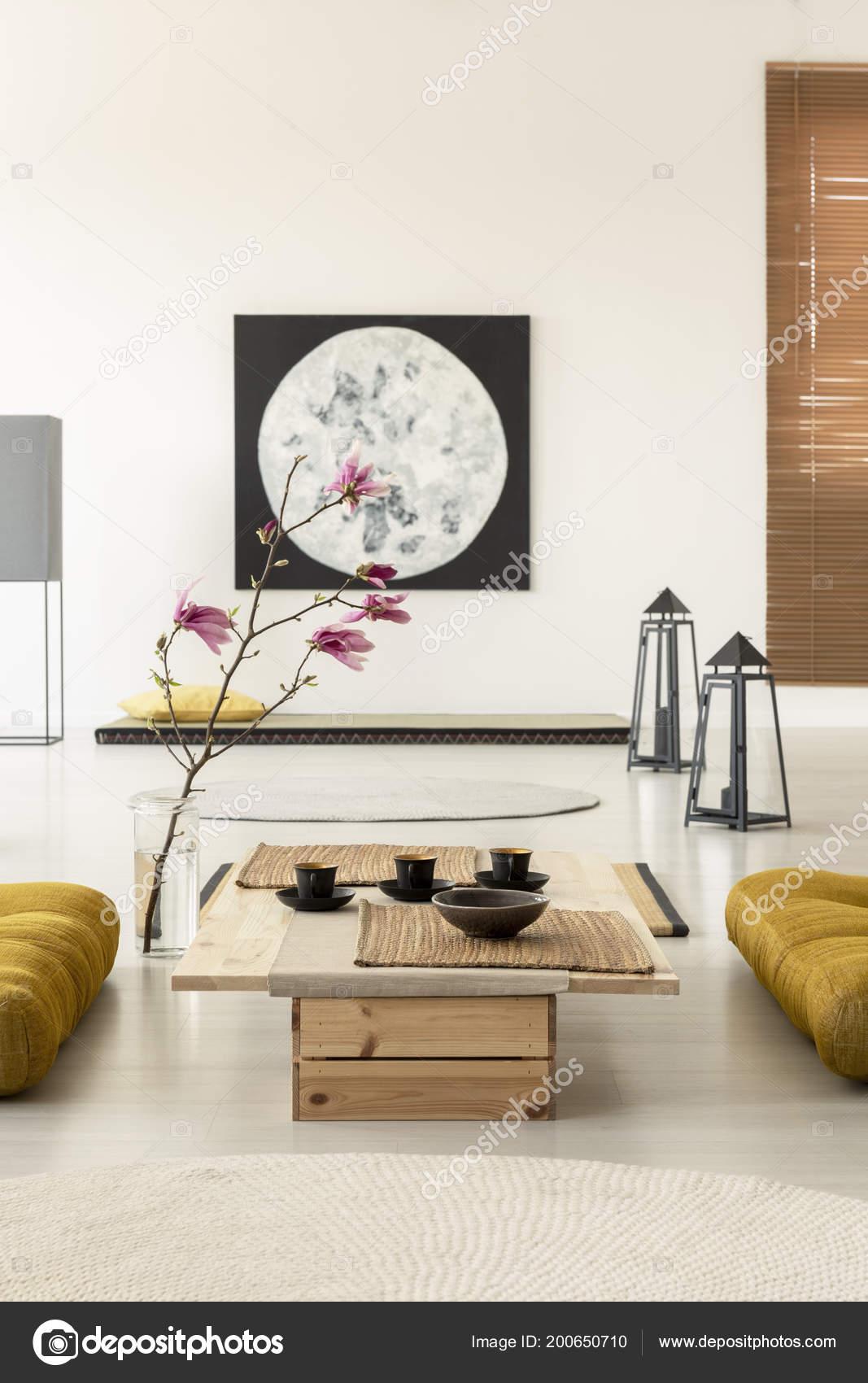 Japanese Style Living Room Set Cherry Blossom Japanese Living Room Interior Painting Coffee Table Cups Stock Photo C Photographee Eu 200650710