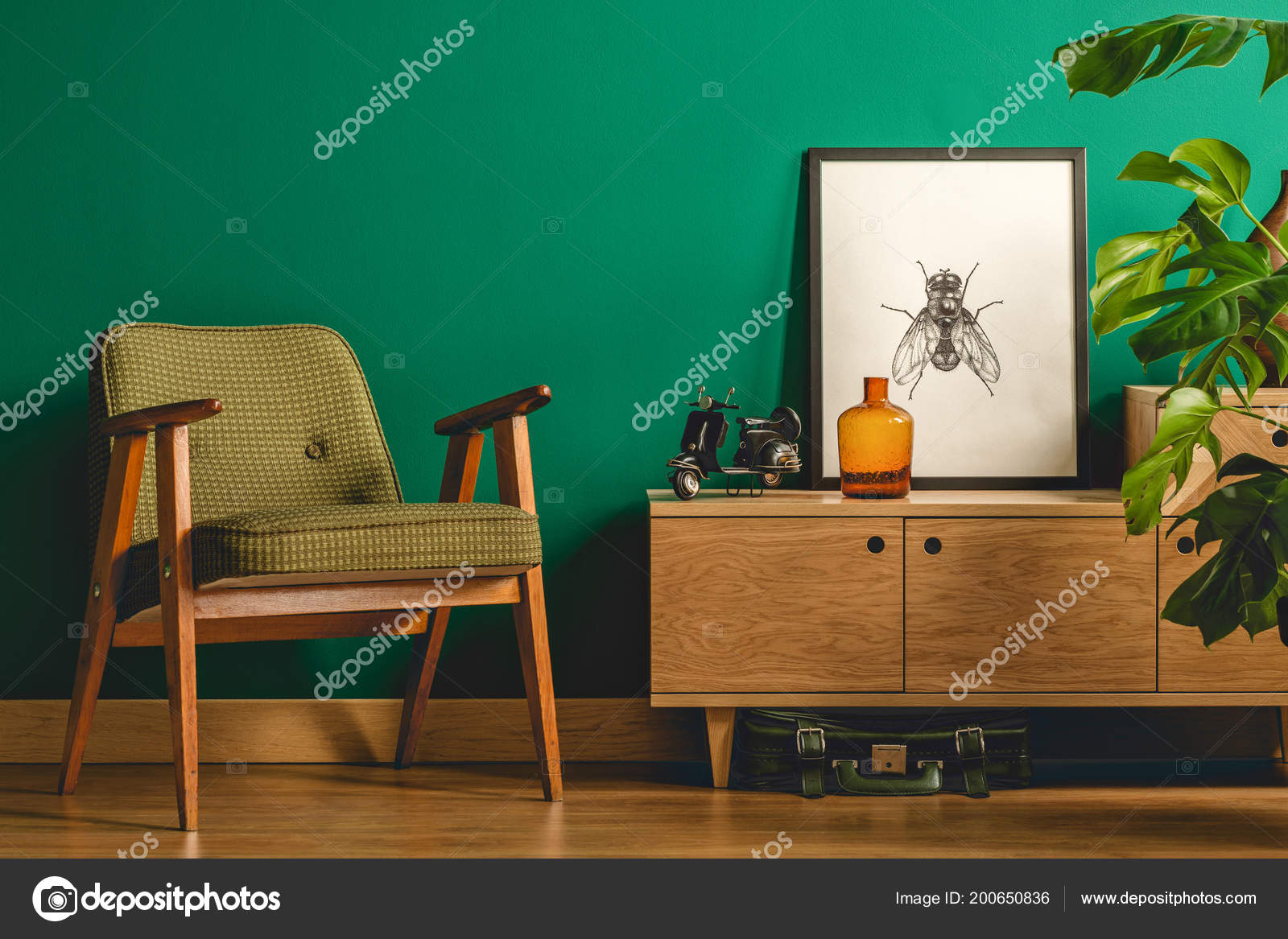 Eenvoudige Vintage Kamer Interieur Met Groene Muren Houten