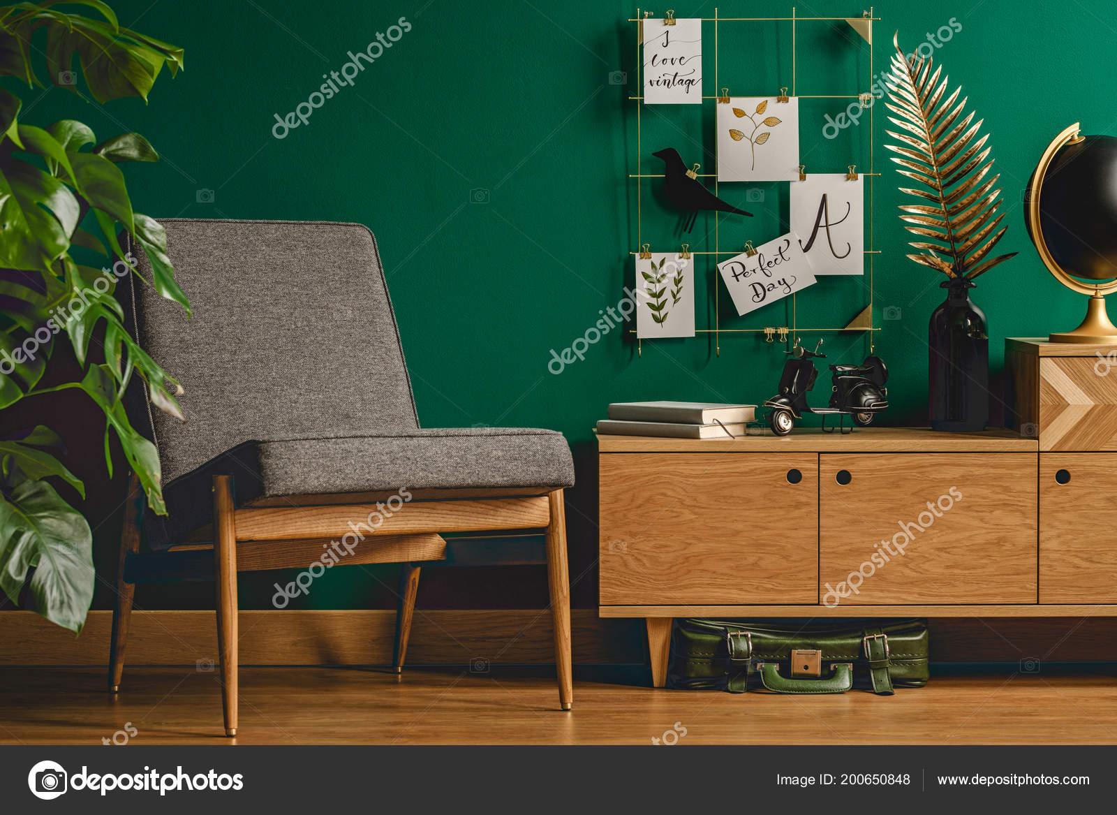 Gezellige Groene Retro Woonkamer Interieur Met Stoel Kast