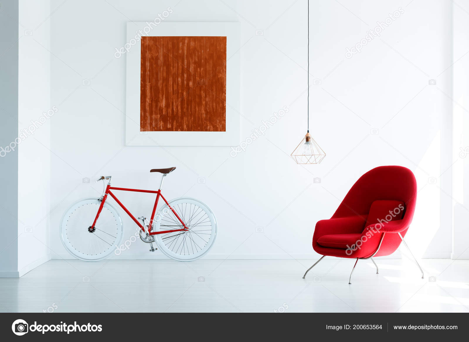 Bike Red Armchair Set White Wall Simple Painting Lamp Stock Photo