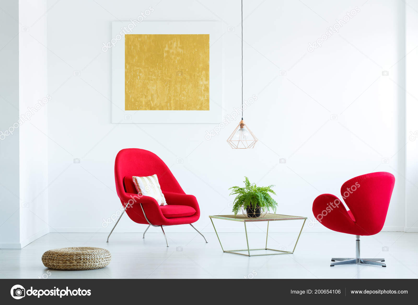 Table Fern Red Armchairs Modern Loft Interior Yellow Painting Pouf U2014 Stock  Photo
