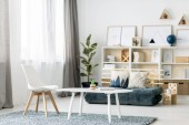 Photo White coffee table with book and small decorative cactus and wooden chair standing on the carpet in Nordic style room interior with windows