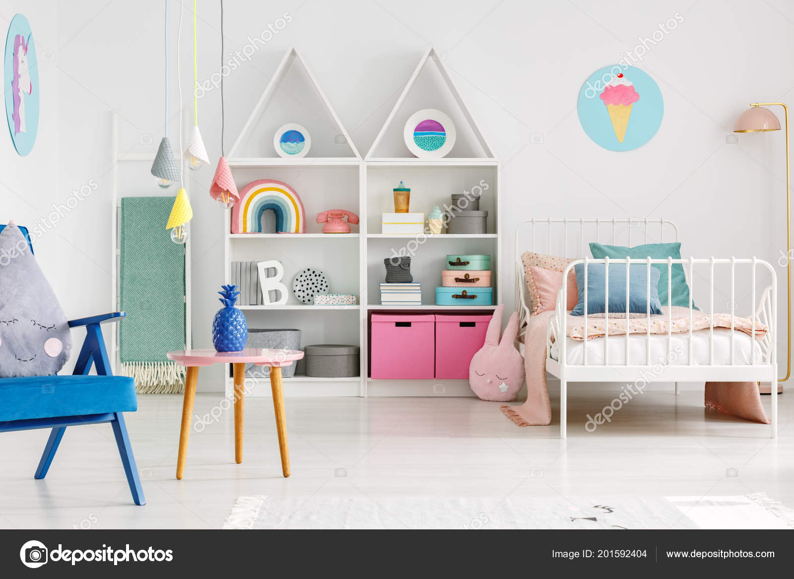 Poster Babykamer Pastel : Blue armchair spacious bright kid bedroom interior colorful lamps