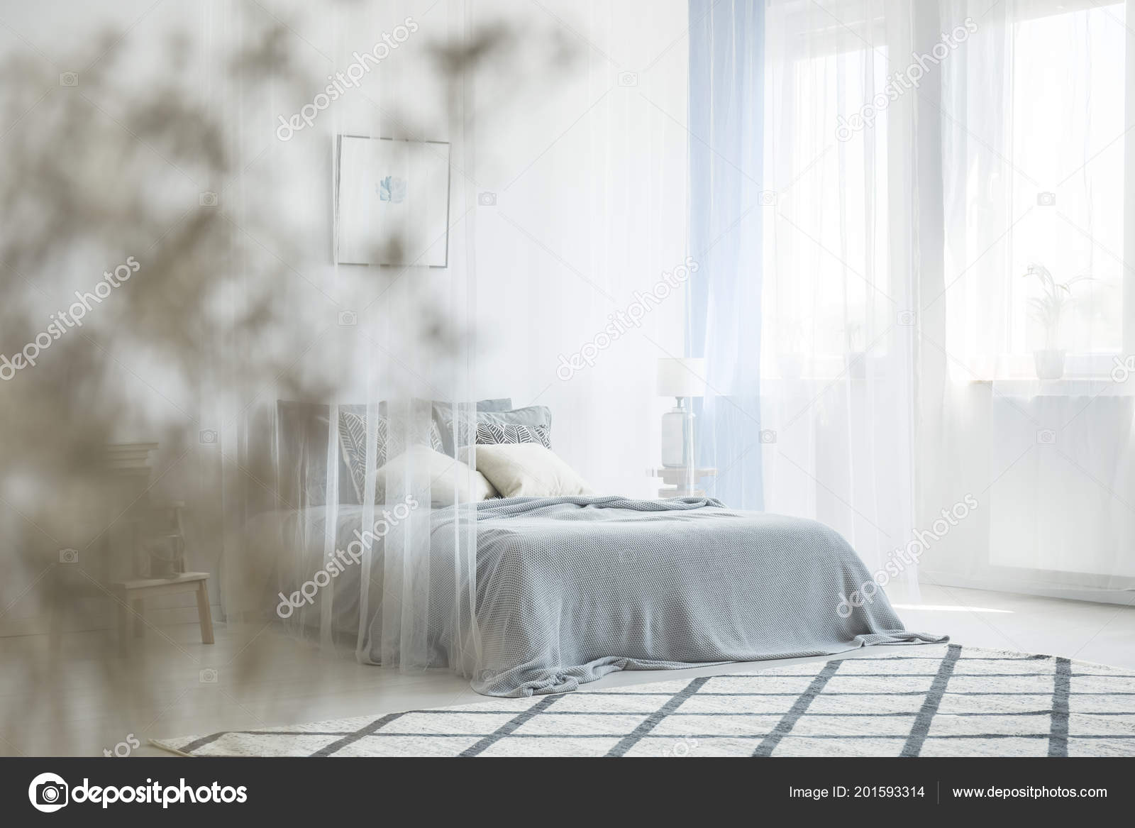 . White Bedroom Interior Carpet Window Drapes King Size Bed Canopy