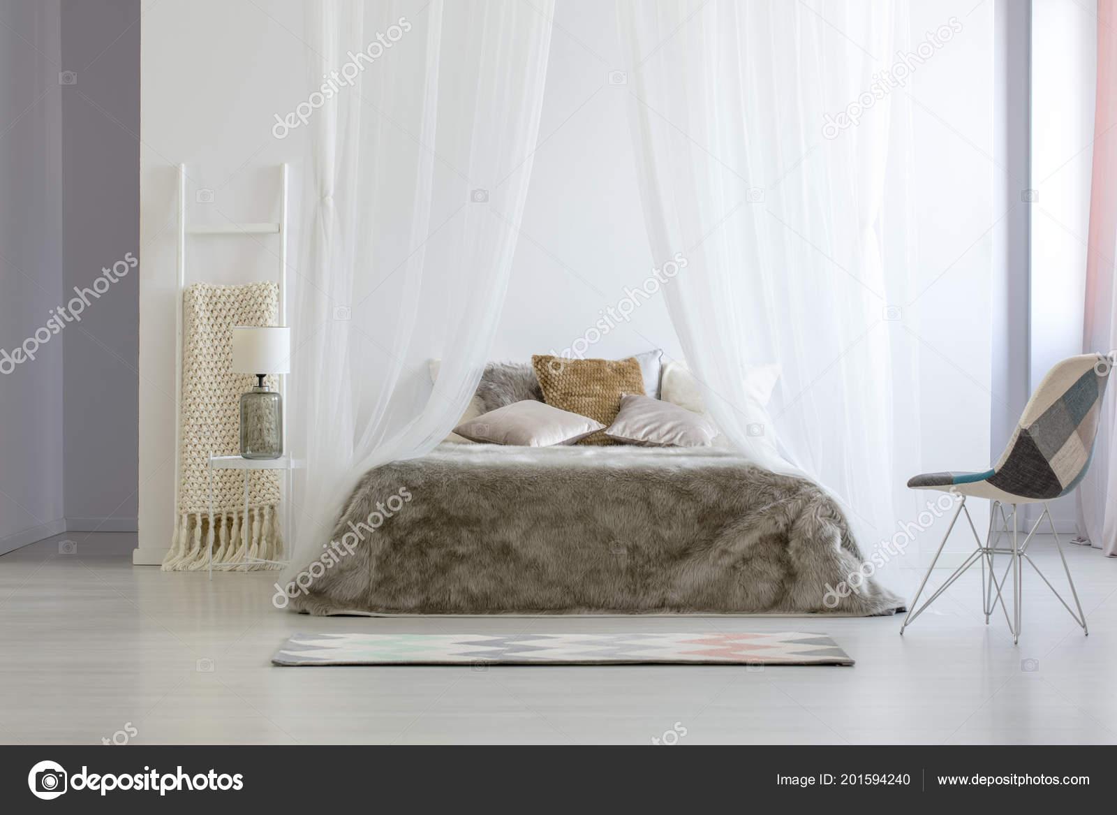 Chair Pattern Standing White Bedroom Interior Blanket Ladder Glass Lamp Stock Photo C Photographee Eu 201594240