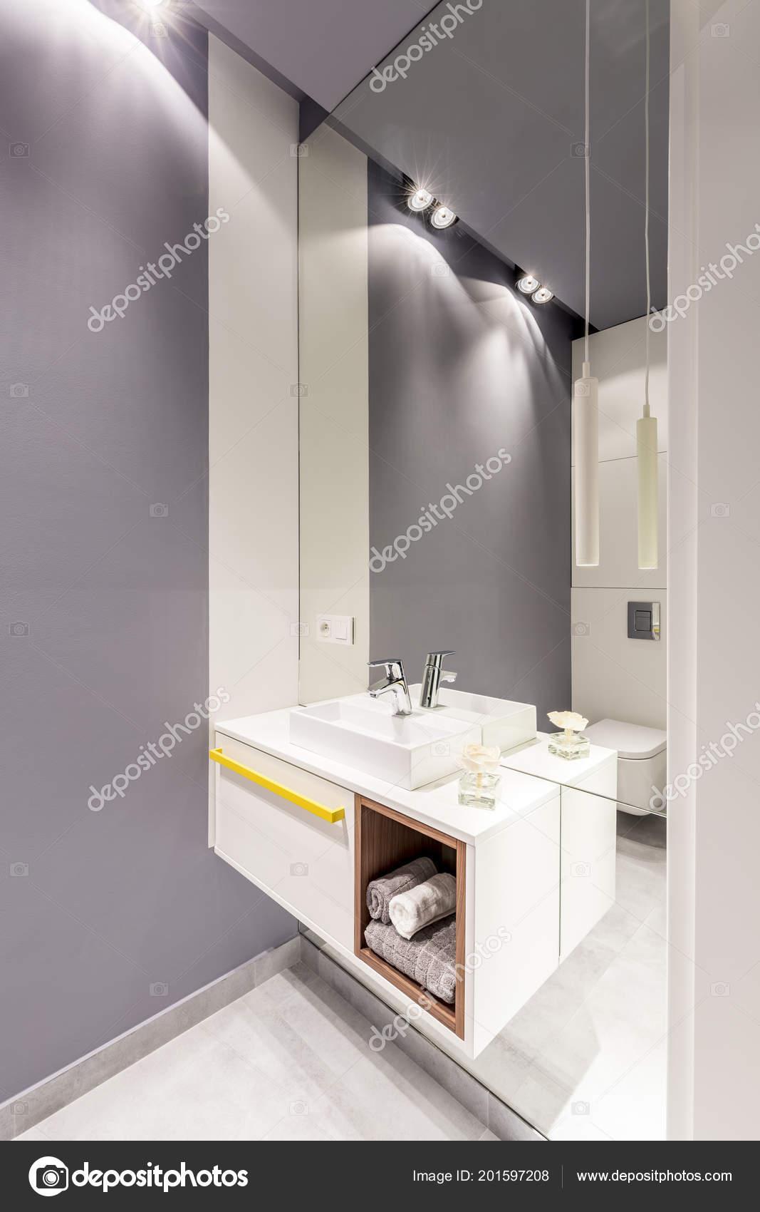 Lavabo Blanco Espejo Armario Interior Cuarto Baño Gris Con Luz ...