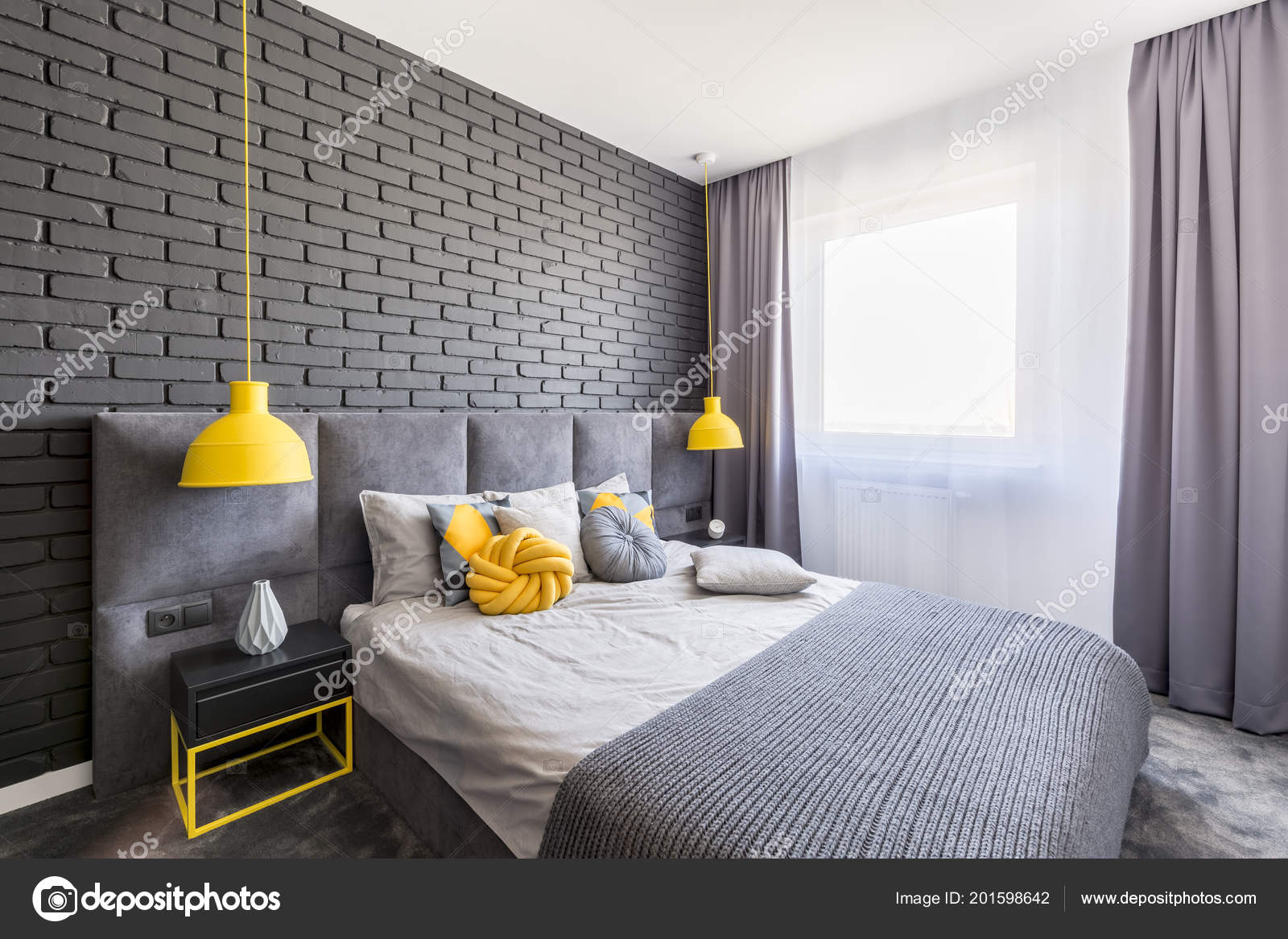 Real Photo Grey Yellow Bedroom Interior Window Curtains Brick Wall ...