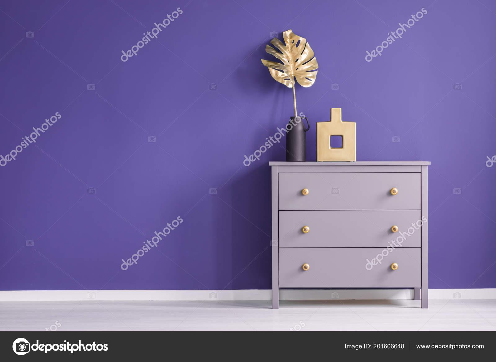 Kommode Mit Goldenen Knopfen Vasen Und Blatt Gesetzt Auf Eine