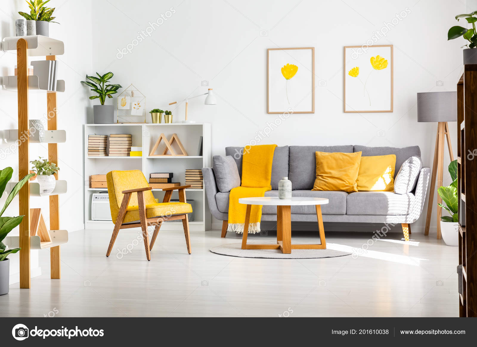Grey and yellow furniture   Real Photo Scandi Living Room ...