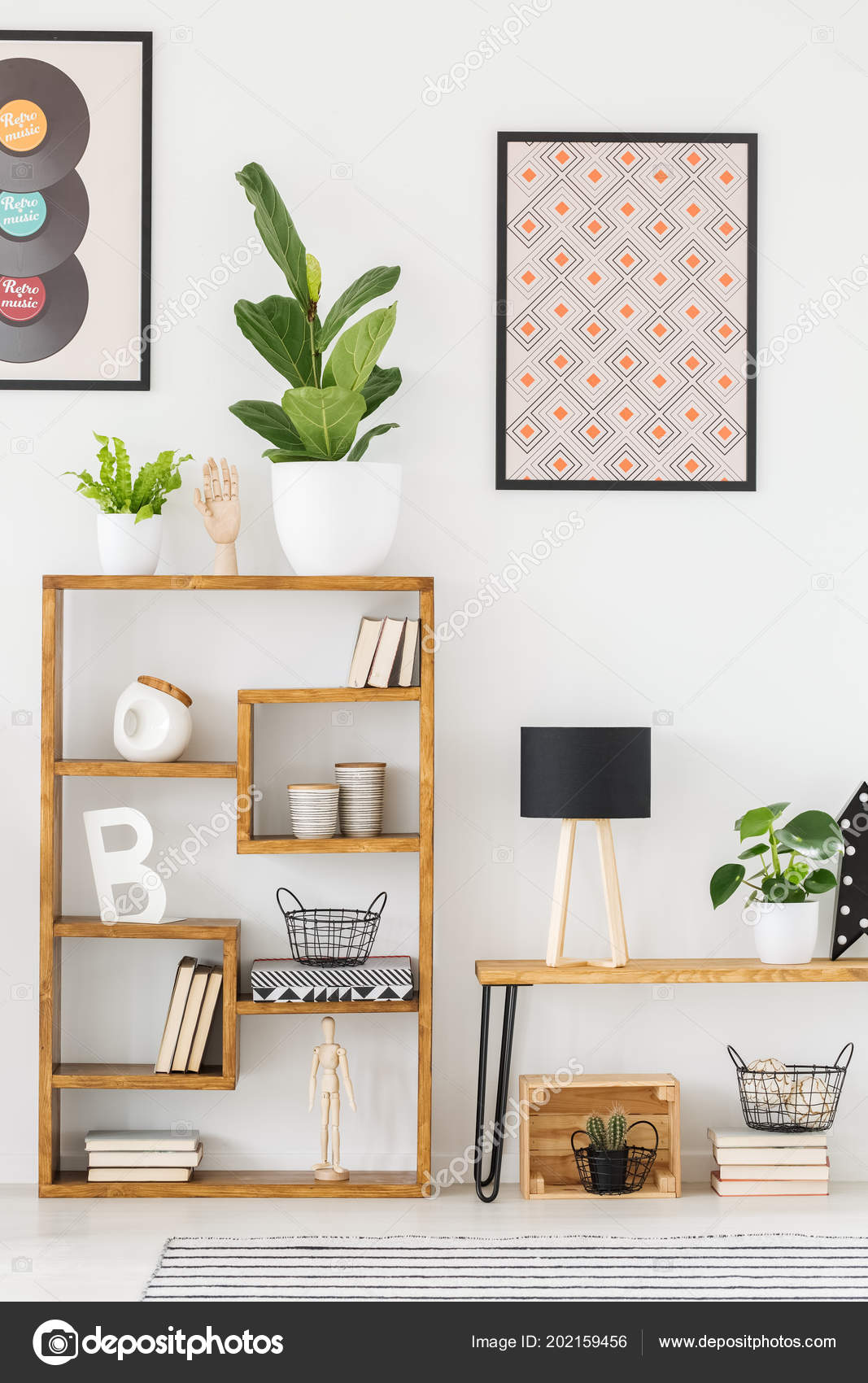. Real Photo Wooden Shelf Ornaments Living Room Posters Wall   Stock