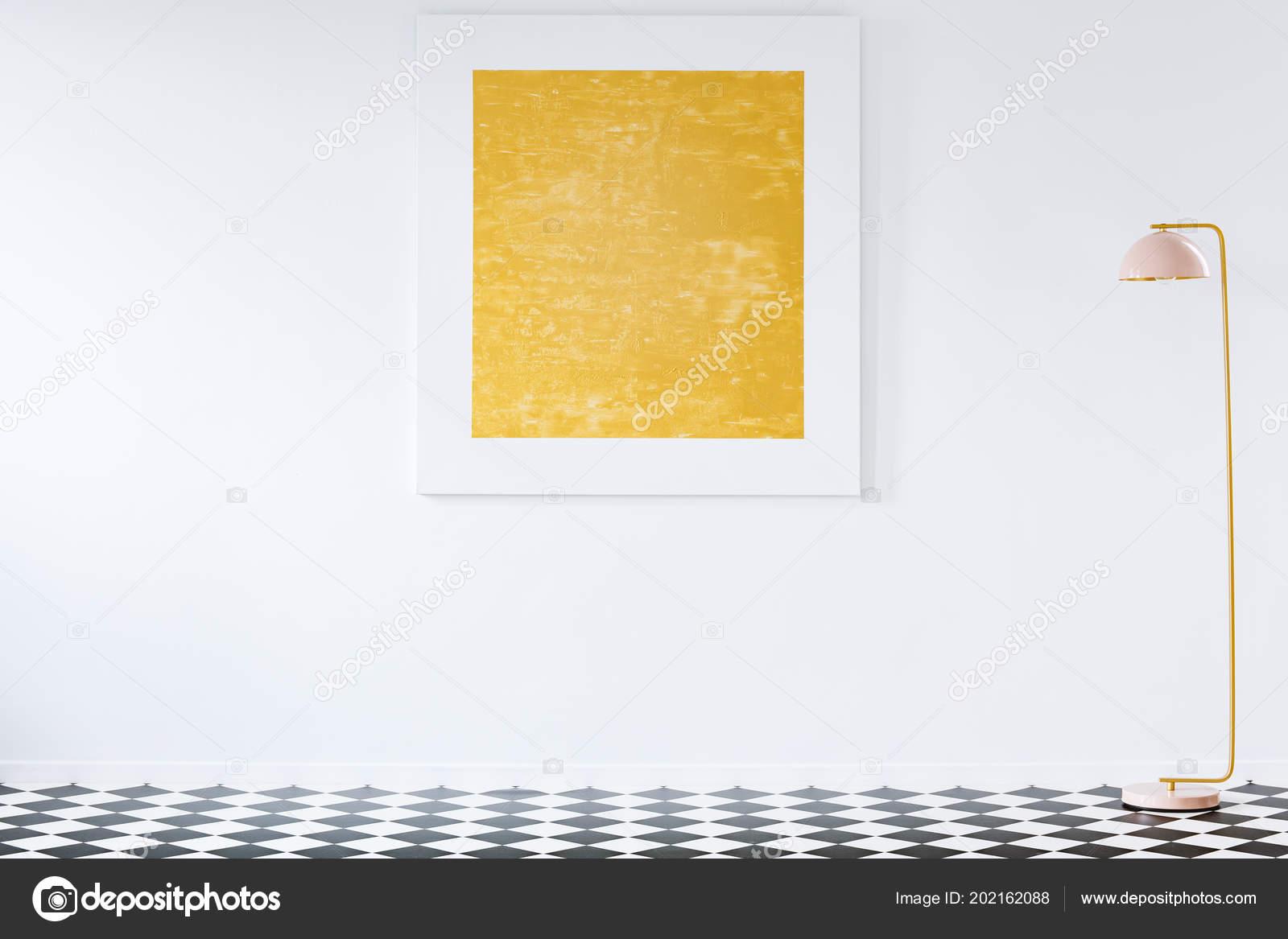 Orange Painting White Wall Minimal Living Room Interior Lamp