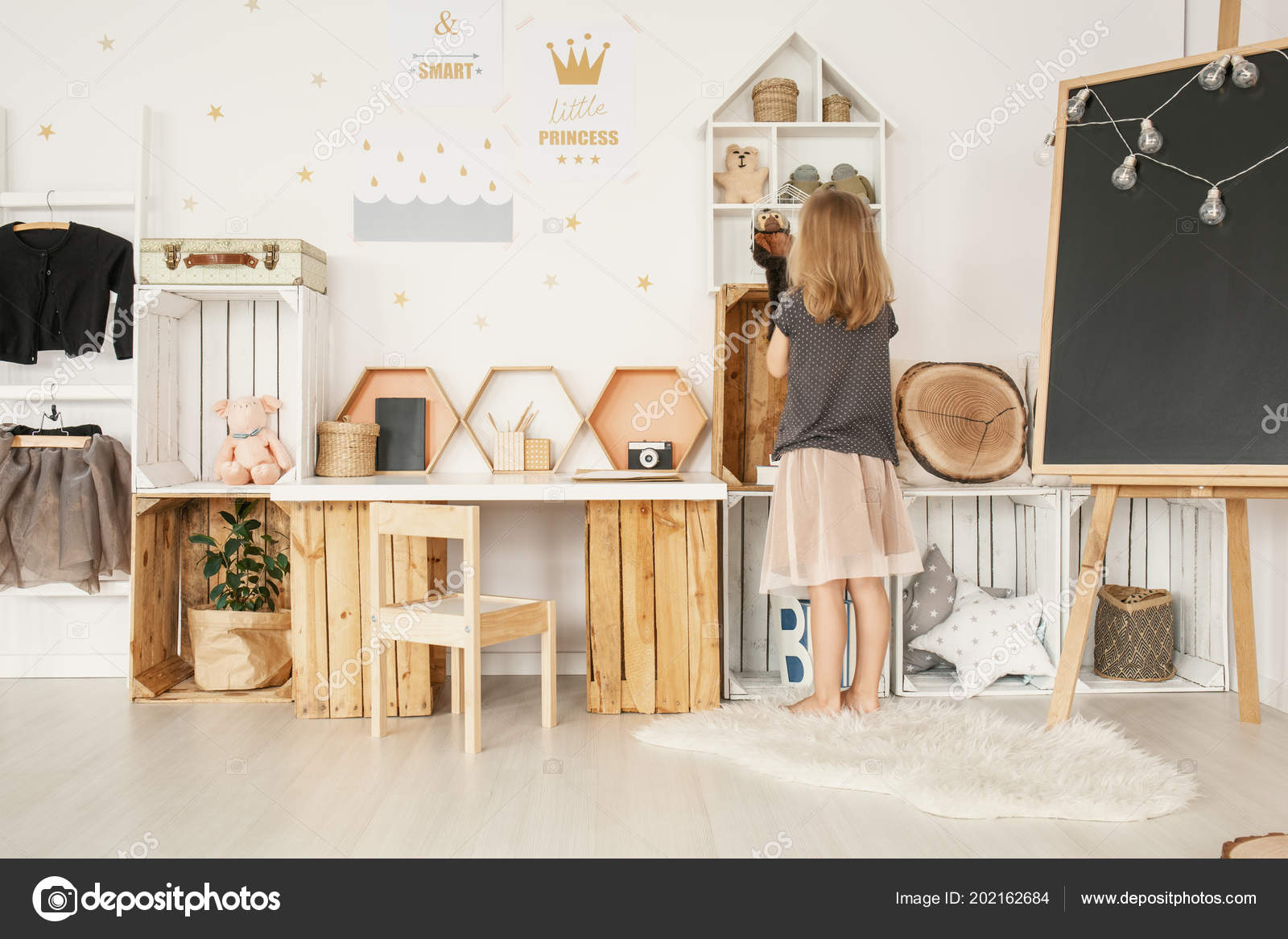 Little Girl Organizing Her Toys White Nordic Style Bedroom